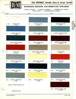1966 CHEVROLET CHEVELLE CORVETTE CHEVY II PAINT CHIPS R M