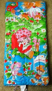Vintage Strawberry Shortcake Childs Sleeping Bag Polyester Fill