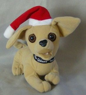COLLECTIBLE TACO BELL CHIHUAHUA PLUSH DOG TOY WITH SANTA HAT GREAT