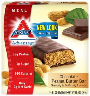 120 ATKINS DIET CHOCOLATE PEANUT BUTTER POWER BAR ENERGY PROTEIN LOW