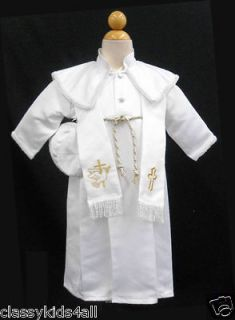 Baby Boy Christening Baptism Formal LONG Vest Outfit Suit gown size0