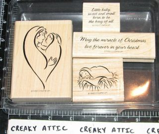 STAMPIN UP MIRACLE OF CHRISTMAS 4 RUBBER STAMPS MARY JESUS