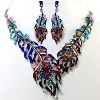 Chunky Multi Color Peacock Feather Crystal Earrings Necklace Set