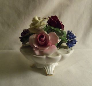 Staffordshire England Radnor roses flowers bone china 4 1/2 high