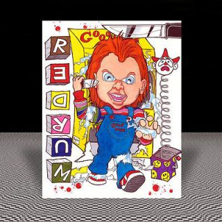 CHUCKY the Good Guy Doll CHILDS PLAY artist signed MOVIE ART, zombie