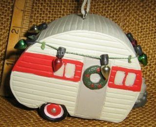 Teardrop Camper Camping Ornament With Wreath & Christmas Lights NEW