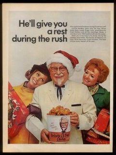 1968 Colonel Sanders & bucket Xmas photo KFC Kentucky Fried Chicken