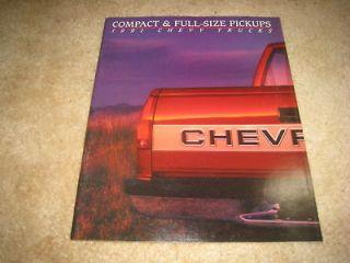 1991 Chevy S 10 C/K pickup 454 SS Silverado Scottsdale sales brochure