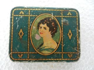 EHS Vintage Beautiful Lady Litho Print Ad Tin Cigarette Holder / Box