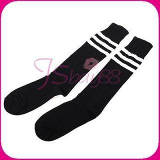 Stripe on Black Tube Socks for Soccer Football Basketball Training