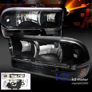 EURO BLACK 98 04 CHEVY S10 BLAZER HEADLIGHTS LAMPS+BUMPER PARKING