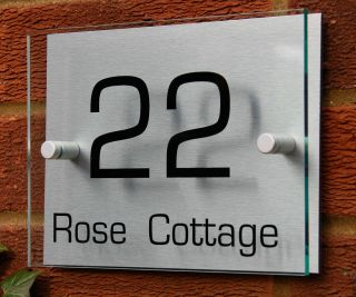 MODERN HOUSE ADDRESS NUMBER SIGN / PLAQUE Glass Effect