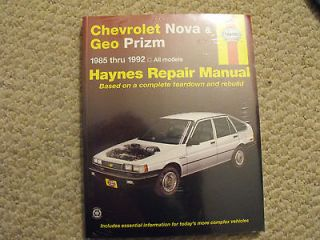 AUTO REPAIR MANUAL 24060 1642 CHEVROLET NOVA GEO PRIZM 1985 THRU 1992