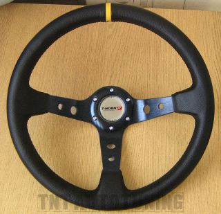 Deep Dish Sports Steering Wheel in Black PVC Leather 350mm Drifting