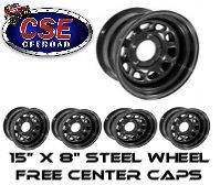 Rugged Ridge Black Steel Wheels (Set of 5) 15X8 5x5.5 Jeep CJ5 CJ7 CJ8