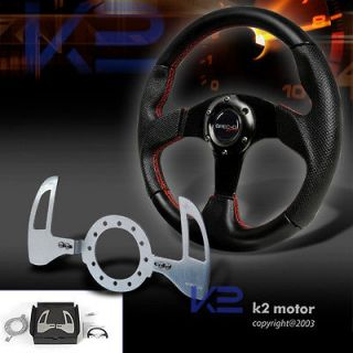 BLACK LEATHER SPORT STEERING WHEEL+SMG SHIFT PADDLES QUEST Forester