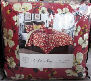 Noble Excellence CHERRY BLOSSOM Red 4 Pc Queen Comforter Bedskirt