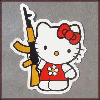 Hello Kitty AK 47 Sticker Vinyl Rifle Gun JDM decal bumper window