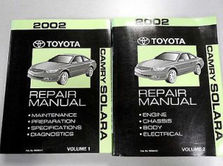 2002 Toyota Camry Solara Repair Service Manuals Volume 1 & 2   In Good