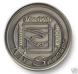 Bronze Handshake Sponsor AA/NA 12 Step Program Recovery Coin/ Chip