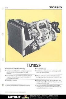 1989 Volvo TD102F Turbo Diesel Truck Engine Brochure