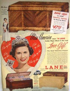 1950 MISS AMERICA LANE CEDAR HOPE CHEST PRINT AD
