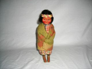 Early Native American Indian Slookum Doll with Blanket   Excellent