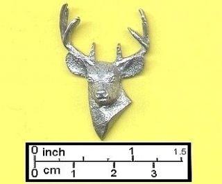 Pt. BUCK DEER HEAD PIN or BADGE in HARRIS FINE PEWTER with FREE
