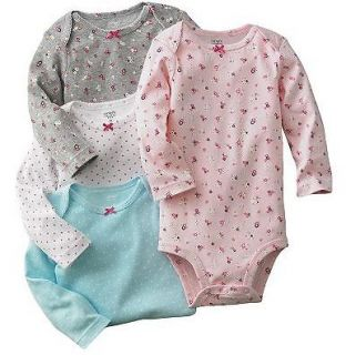 NWT Carters Baby Girl Clothes 4 Bodysuits Pink Blue Gray 3 6 9 12 18