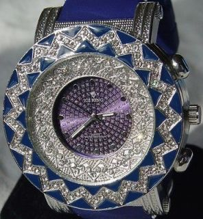 OUT HIP HOP PLATINUM 50 CENTS BLUE TECHNO ICE KING BLING BLING WATCH