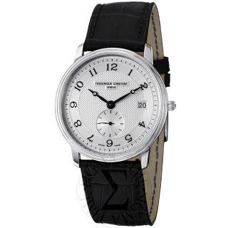 Frederique Constant Mens Slim Line Silver Dial Black Strap Watch FC