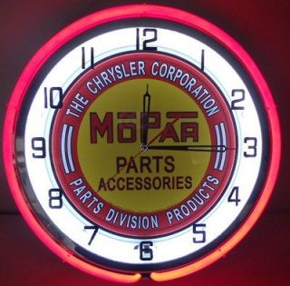 Mopar Chrysler Dodge 18 Double Neon Clock Parts Dealer Emblem Garage