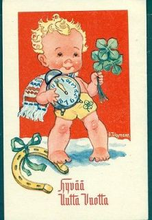 New Year Swedish Artist postcard, Tilgmann, Alarm clock, Horseshoe
