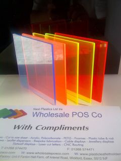 PERSPEX ACRYLIC CAST FLUORESCENT COLOURED SHEET 3MM BLUE ORANGE YELLOW