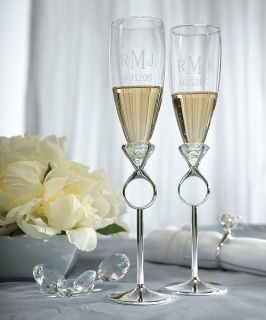 Personalized Diamond Ring Bride & Groom Wine Toasting Flute Glasses