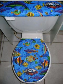 Tropical Fish Sea Ocean Fabric Toilet Seat Cover Set