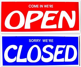 OPEN CLOSED SIGN WINDOW BUSINESS RETAIL STORE 2 SIDED RED WHITE BLUE