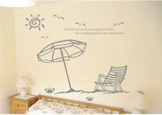 various colors)Vacation On The Beach Decor Mural Art Wall Sticker
