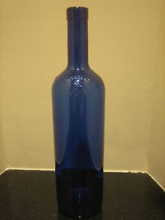 Sculpted Dragonfly Cobalt Blue Glass Bottle Wine Water 12 Big