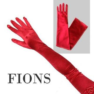 Long Red Stretch Satin Formal Wedding Opera Gloves sexy dance clubwear