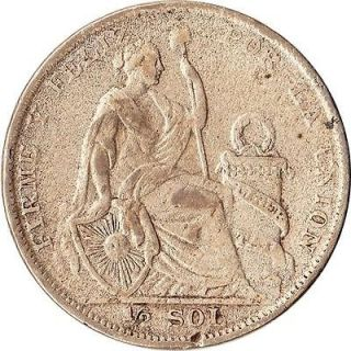 1927 Peru 1/2 Sol Large Silver Coin Liberty KM#216