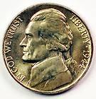 coin 1944 NO MINT MARK Jefferson War nickel