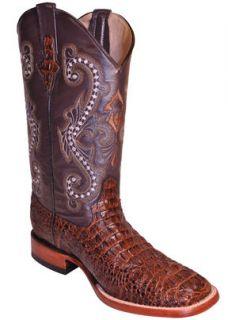 Ferrini Mens Sport Rust Caiman Crocodile Print Boots S Toe 40393 23