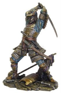 NEW Japanese Samurai in Battle Bronze Statue Figure
