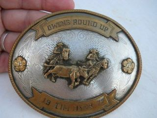 Worn 1997 Tony Lama German Silver Cowboy Team Roping Trophy Western