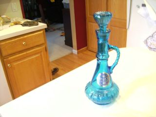 Vintage Jim Beam Whiskey Liquor Wine Decanter Turquiose Blue Glass