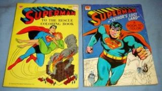 Lot of 2 SUPERMAN 1970s COLORING BOOKS Whitman #1001 & #1665