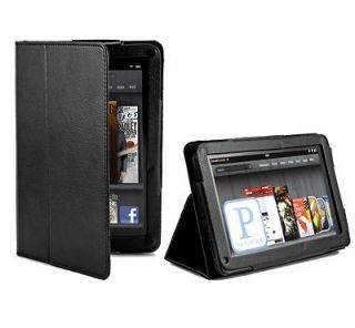 Black Folio Leather Stand Pouch Skin Case Cover for  Kindle Fire