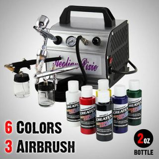 New 6 Colors 3 Airbrush Kit Air Compressor Dual Action Createx Primary