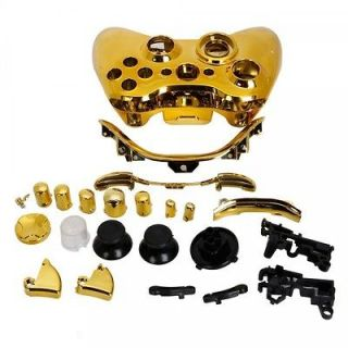 Wireless Controller Full Housing Shell Case for Xbox 360 Plating Gold